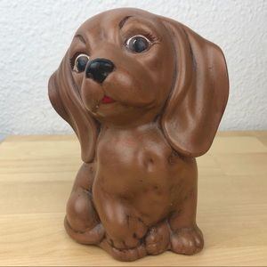 "VINTAGE 1982 5"" Tall Ceramic Painted Dachshund Pup"